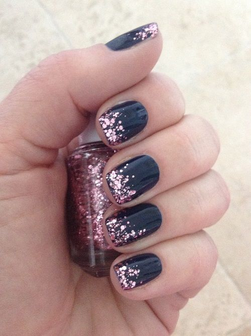 Navy With Glitter Tips Elegant Nail Design Beauty Bonanza