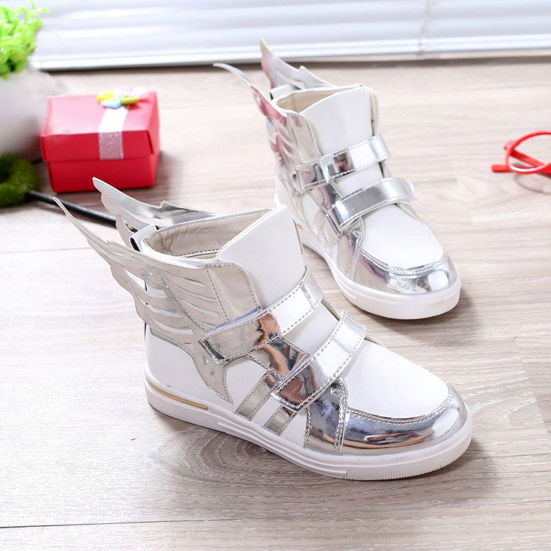 >> Click to Buy << Spring Autumn 2016 New Kids Sneakers Wings Design Gold Silver Color Patchwork Children PU Leather Shoes Girls Boys Shoes #Affiliate