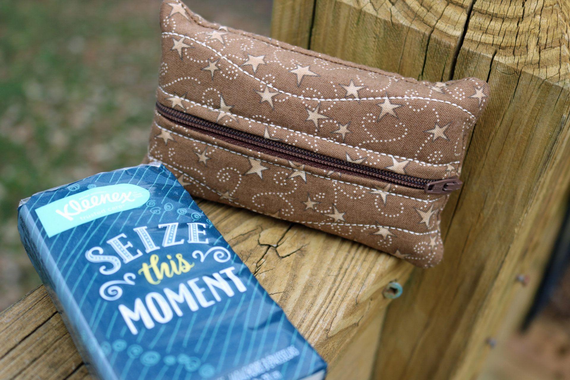 ZIPPERED BAG Tissue Kleenex Holder  great for Grandma Mom and Teachers