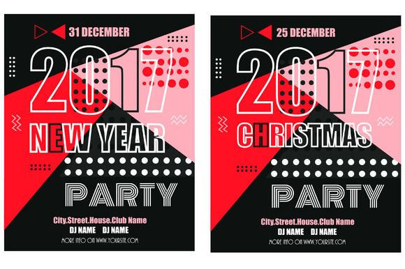 New Year and Christmas Party Flyers @creativework247 Templates