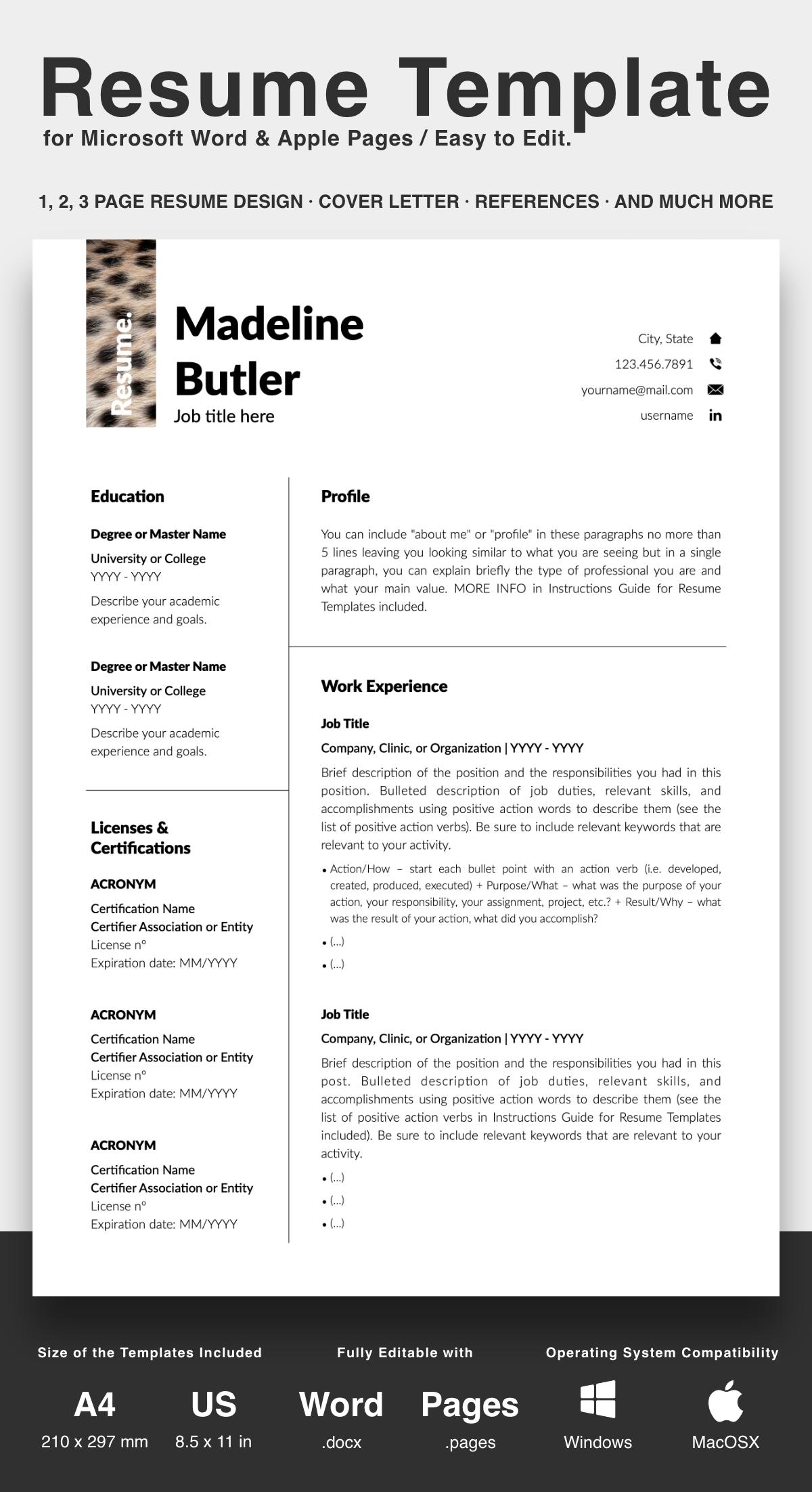 Professionelle Lebenslauf Vorlage Fur Microsoft Word Und Apple Pages Resume Template Downloadable Resume Template Resume