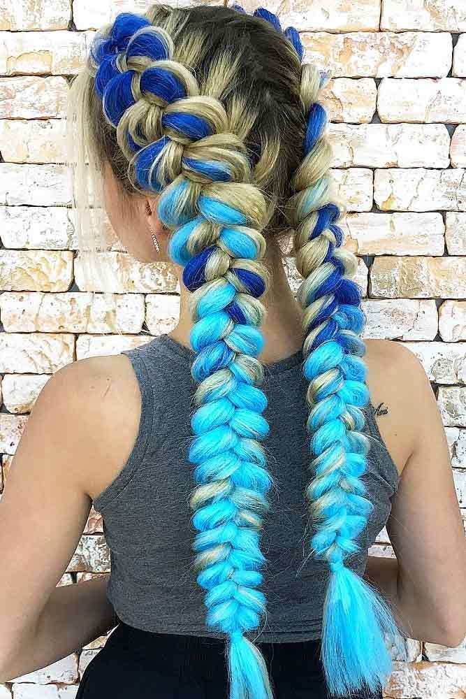Image Result For Dutch Braids With Blue Extensions With Images
