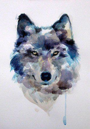 Lobo En Colores Azul Y Gris Cuadro En 2019 Pinterest