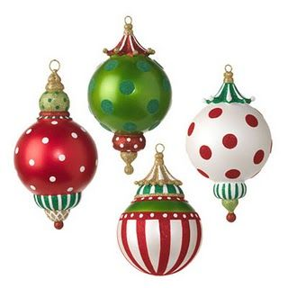 Vintage Style Candy Cane Stripe Glass Ornament Set 3Red White Retro Antique