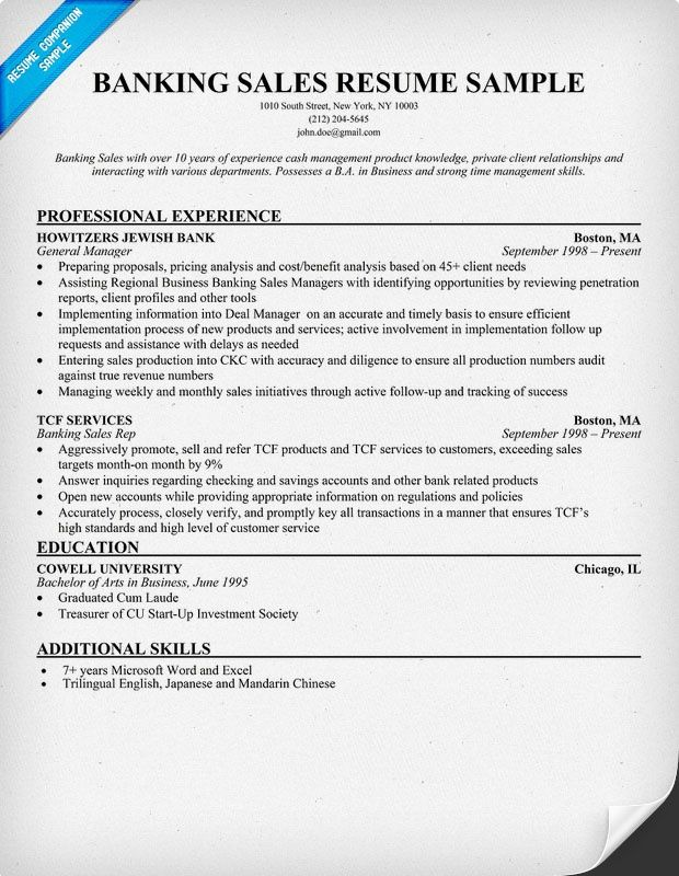 banking sales resume samples across all industries pintere sample - sample of job description in resume