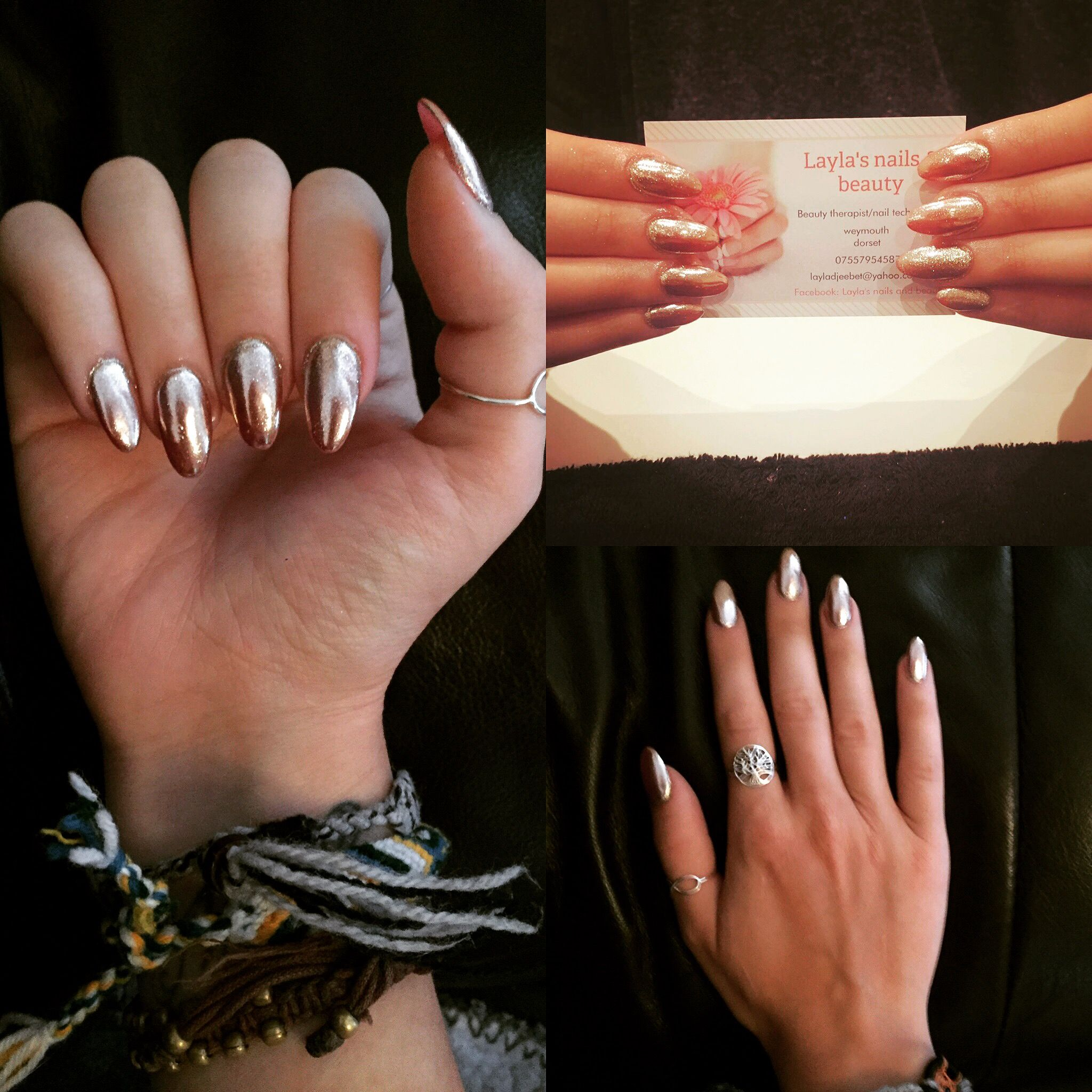 Love love love my nails . Rose gold chrome nails | hairrr ...