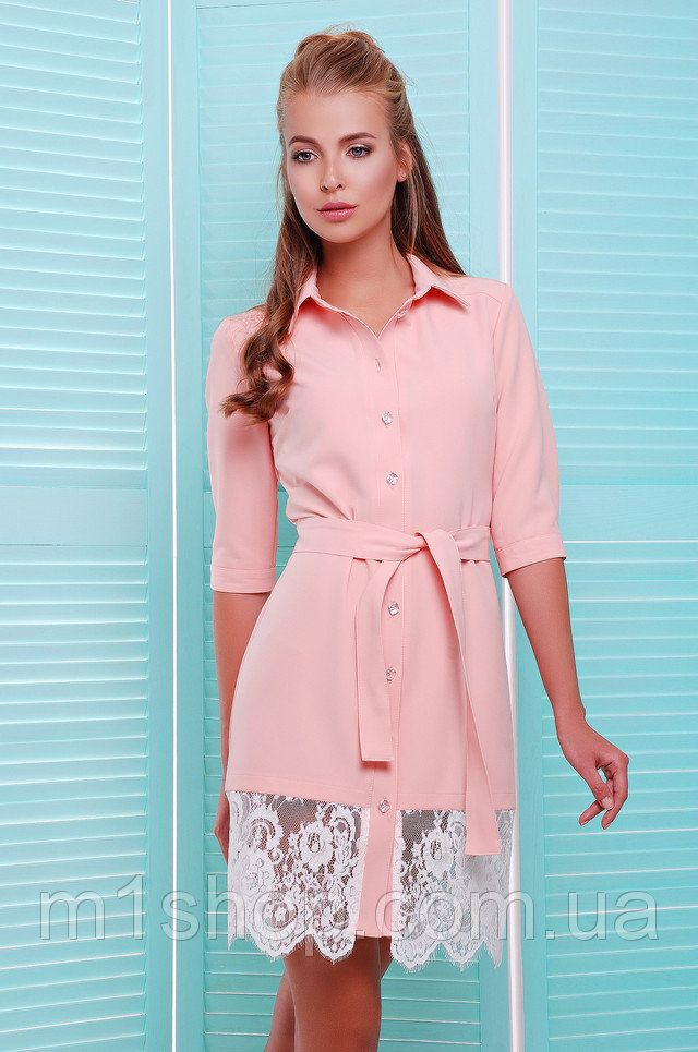 b732822507d6cb3 Платье-рубашка с кружевом | Miss zf купить недорого Украина - m1shop - Киев,