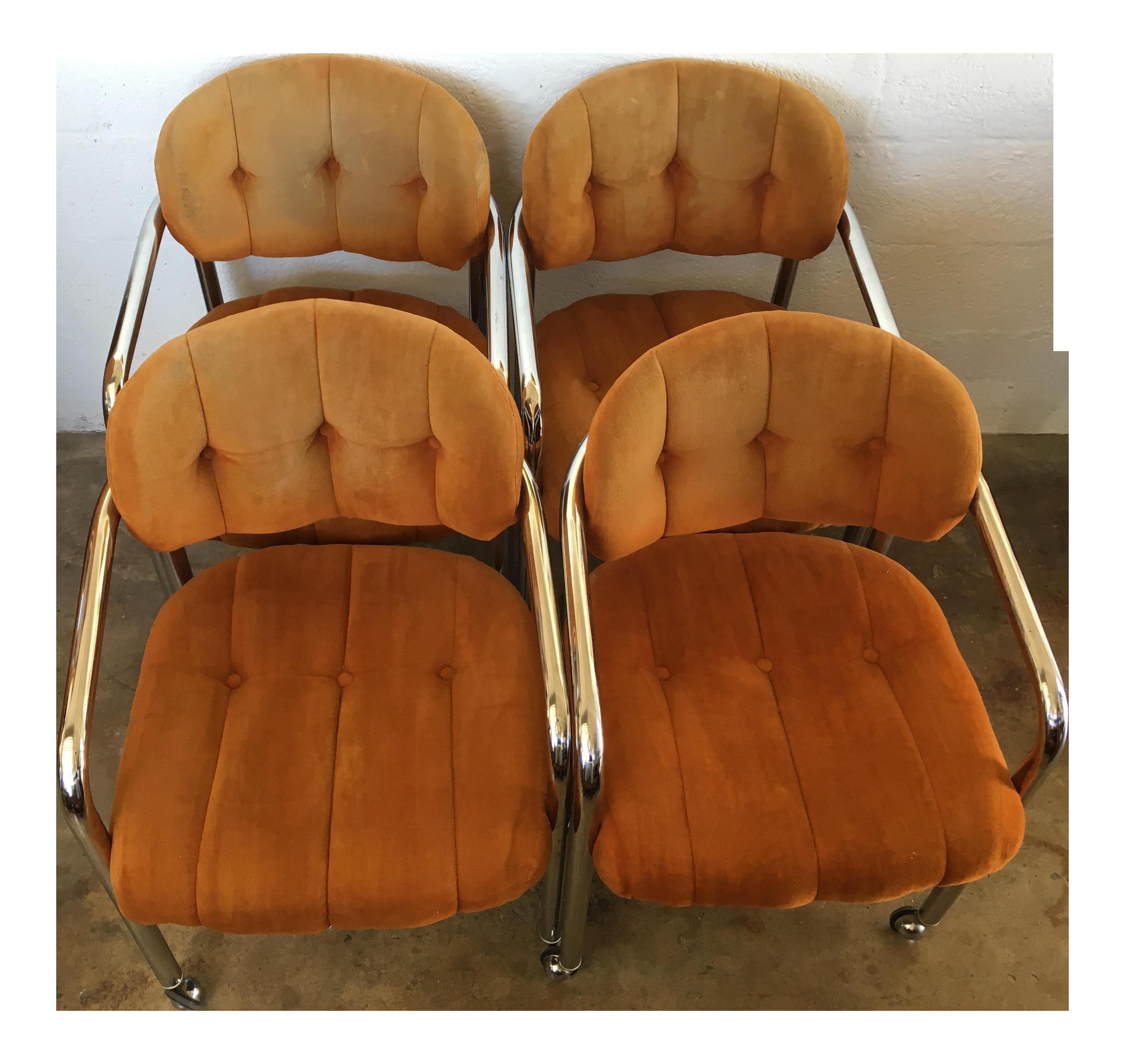Incredible Vintage Mid Century Modern Tubular Chrome Rolling Dining Uwap Interior Chair Design Uwaporg