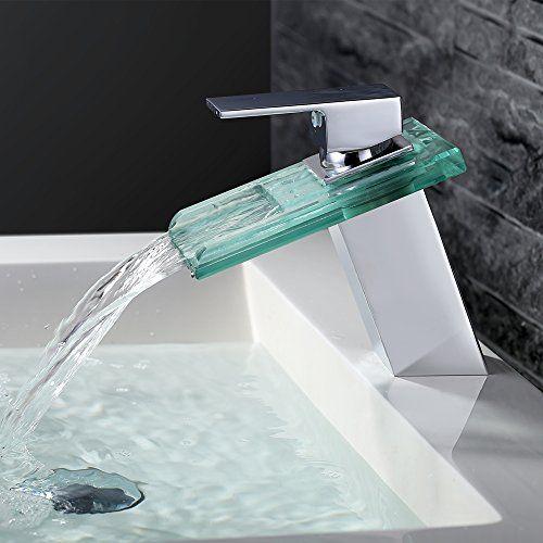 Homelody® Elegant mit Glasauslauf Wasserfall armatur Bad Ein - moderne armaturen badezimmer