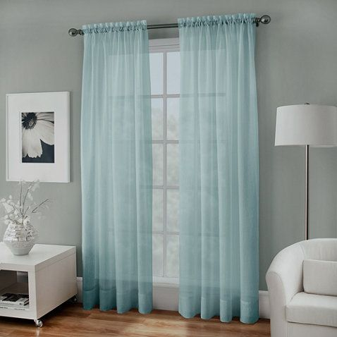 Crushed Voile Sheer Rod Pocket Window Curtain Panel - BedBathandBeyond.com