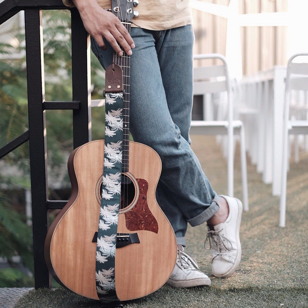 Chill out with green hawaii guitar strap acoustic guitar