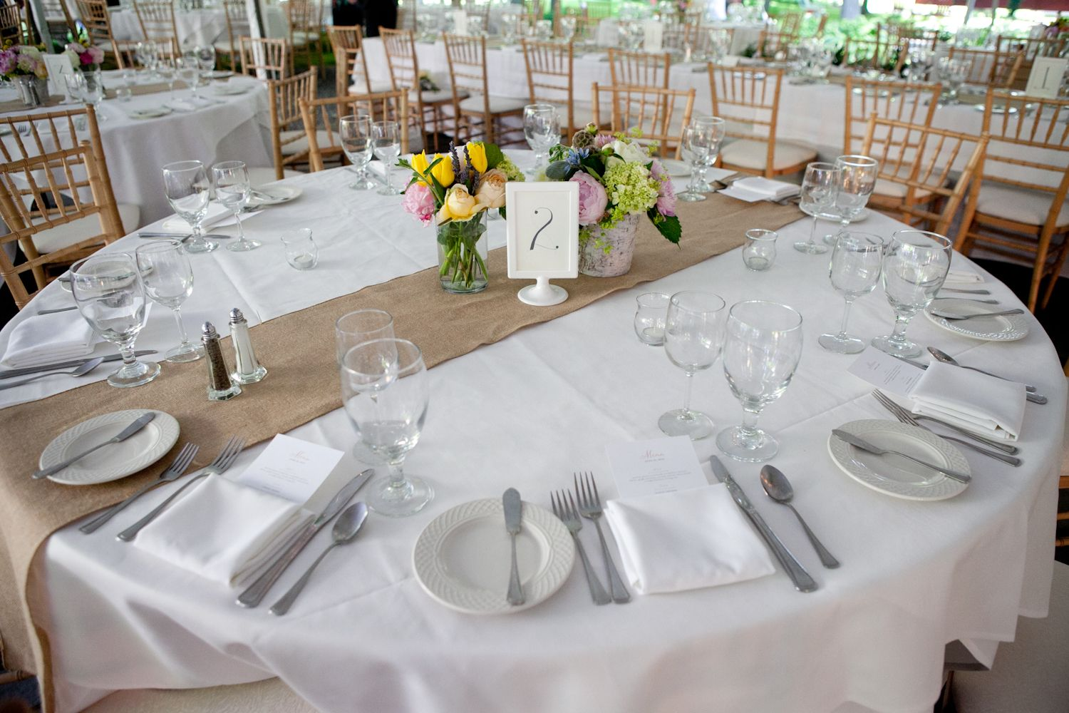 Rustic Vermont Wedding Burlap Runners Wedding Tables