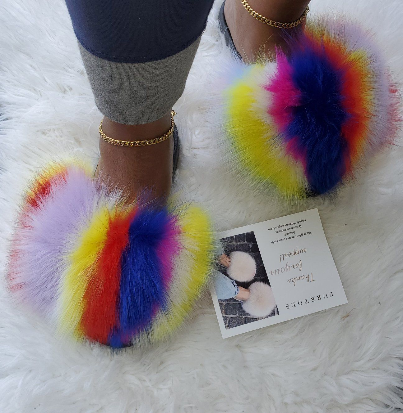 Women's multi colored slippers – Furrtoes   Girly shoes