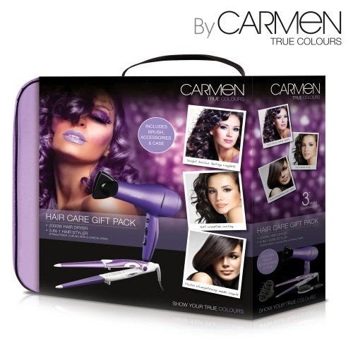 Looking for a total hair care solution at an affordable price? Well look no further than the Carmen Hair Care Gift Pack. Comprising of 1x Carmen 2000W hairdryer with concentrator/diffuser and 1x conical 2-in-1 straightener and curling iron, all bundled up in an elegant carry case, this set is all you'll ever need to fashion head-turning styles. The dryer comes with 2 speed and 3 temperature settings and the straightener/curling iron's ceramic coated plates make for a smooth and shiny finish.