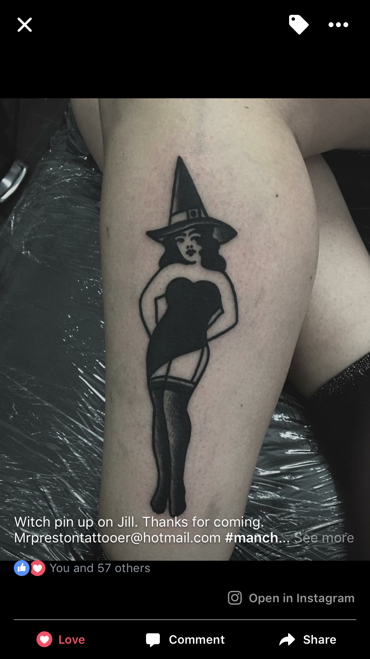 04513a7652337 My witch pin up tattoo by Neil Preston | Tattoos | Tattoos, Pin up ...
