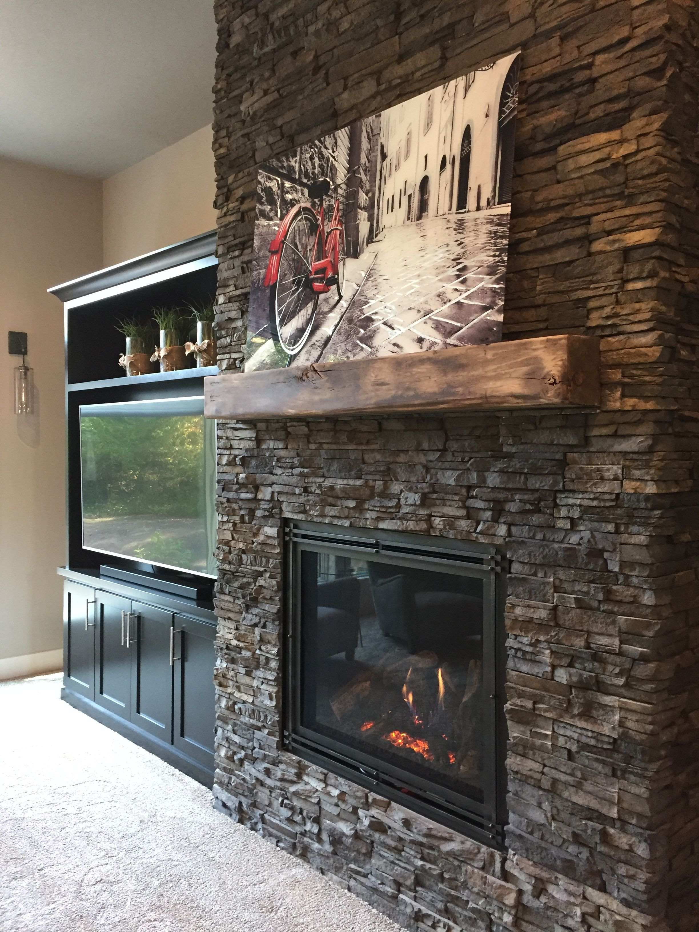 Chapel Hill Stacked Stone Fireplace Surround With Custom