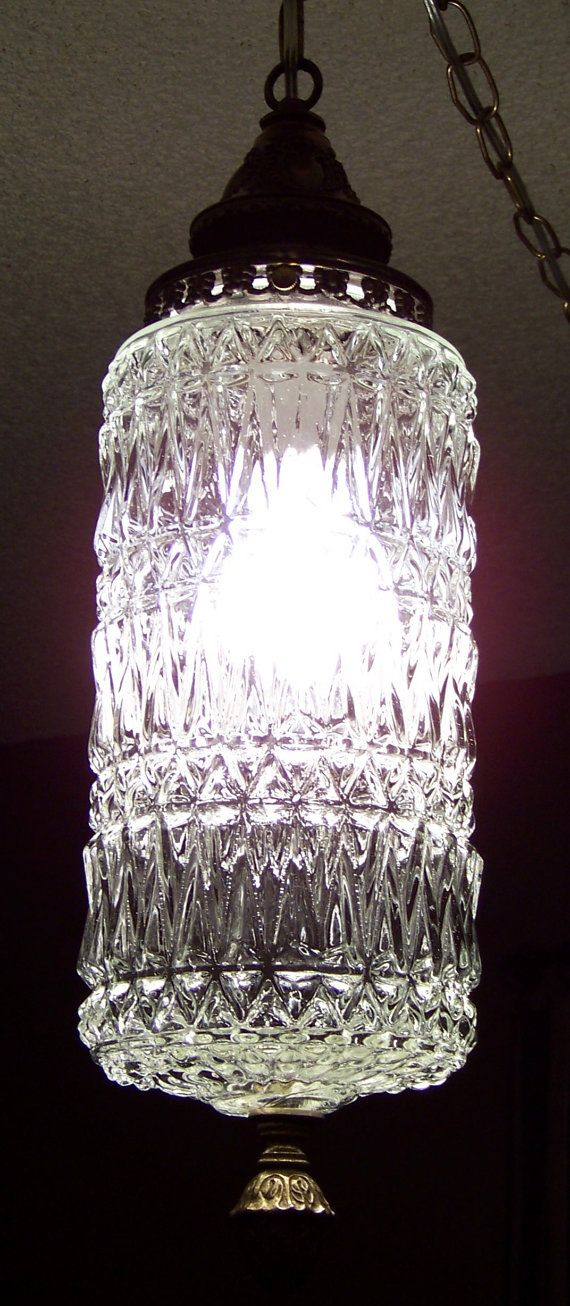 Vintage Clear Glass Cylinder Geometric Art Deco Swag