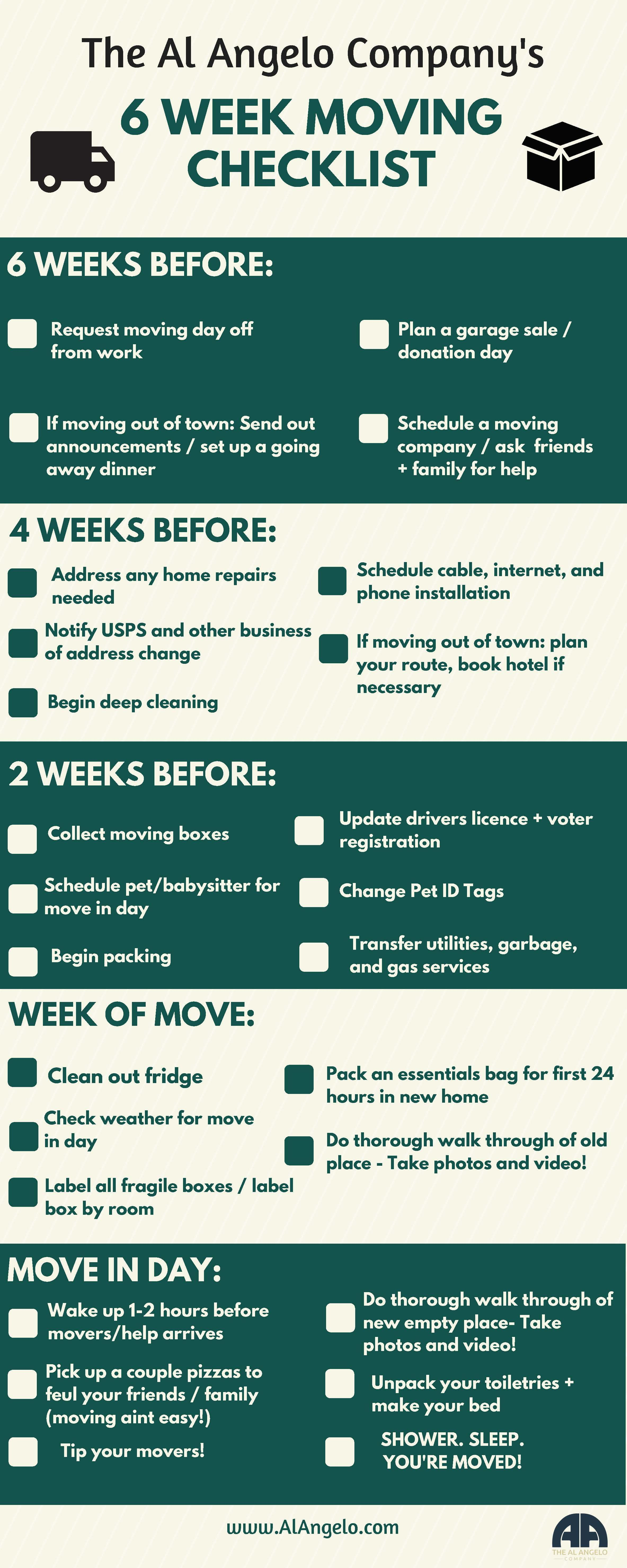 6 Week Moving guide and Checklist Al Angelo Moving