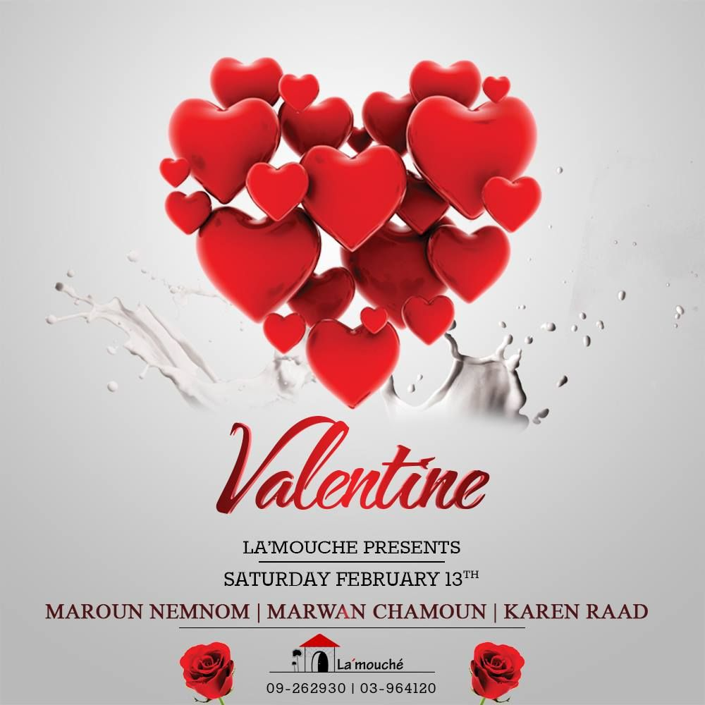 Join us Saturday 13th for a special Valentines night. La'mouché Restaurant & Lounge #La2mouche #Restaurant #Valentines #Love #Romance #Love #ValentinesDay #RomanticWeekend #livelovelebanon #hotels #lebanon #valentine #dinner #love #overnight #night #couples #luxurious #wine #valentinesday #instagood #instamood #celebration #dinners #cozy #dinning #Stay #gift #bemyvalentine #Restaurant  more at : http://goo.gl/Mc7tJb