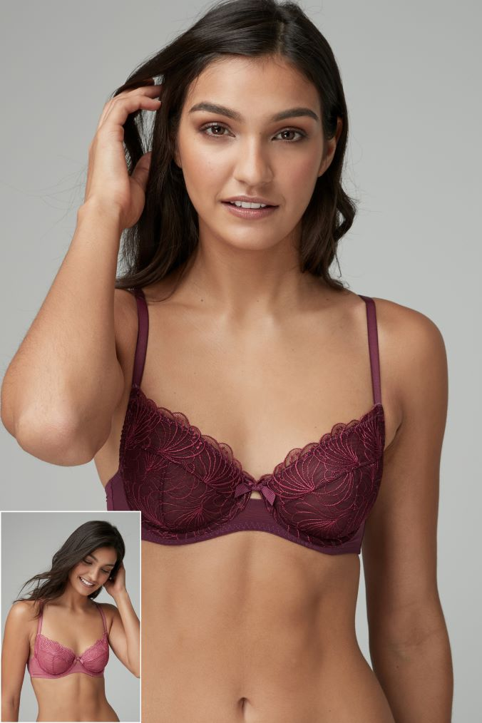 Womens Next Plum Pink Lizzie Embroidered Non Padded Balcony Bras Two Pack -  Purple 4c2fbf52b0