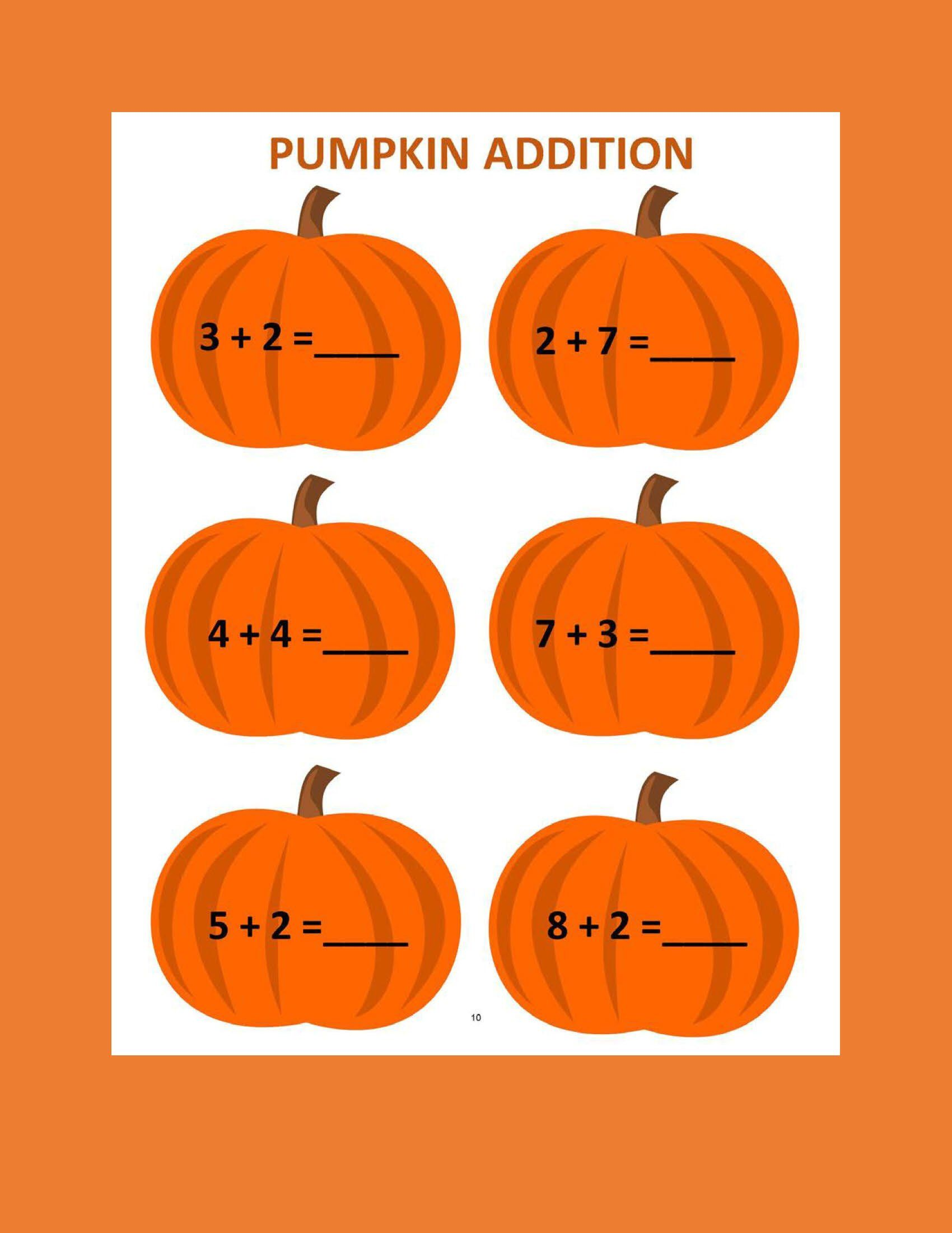 Pumpkin Addition A 12 Worksheets Preschool
