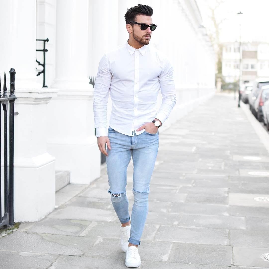 Men white dress shirt with jeans.