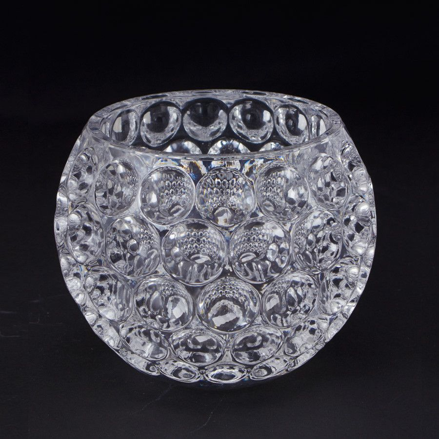 "Glass Bubble Floral Bowl 5.5"" Diameter x 4.25"" Tall"