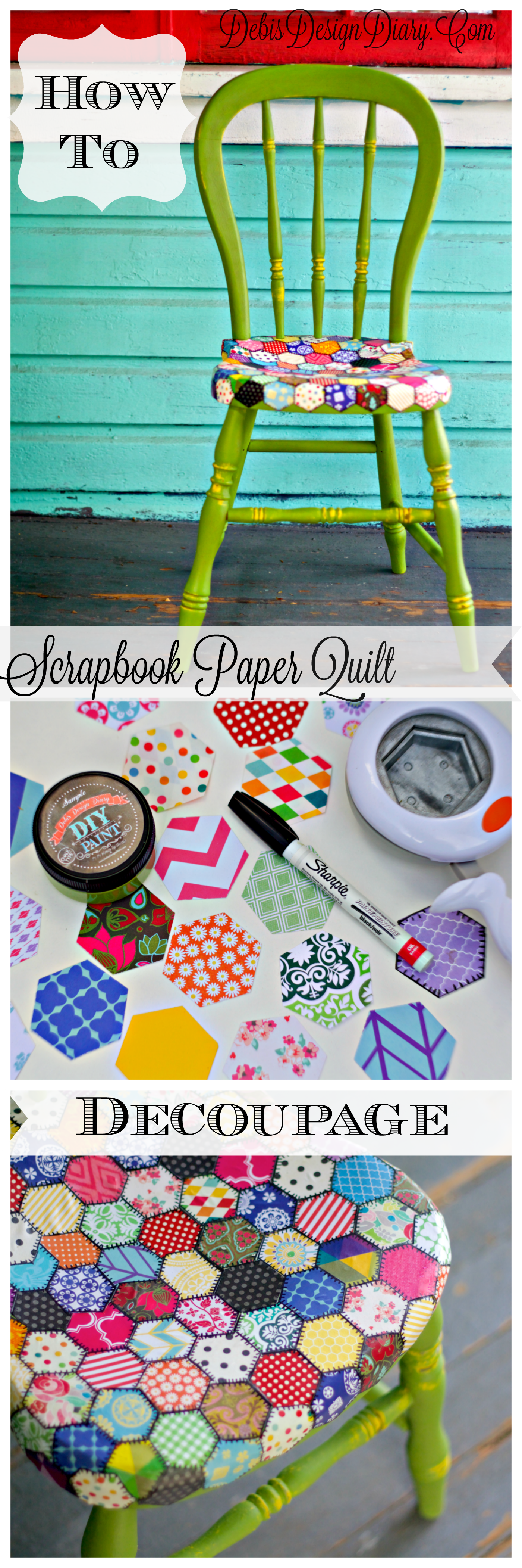 diy decoupage furniture. How To Decoupage Furniture In A Quilt Pattern With Scrapbook Paper. Also, This Chair Diy E