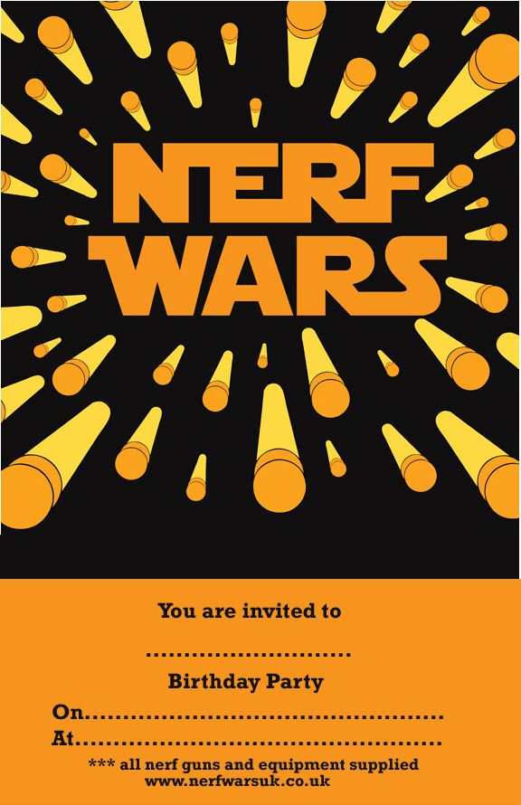 Nerf War Birthday Party - Invitation Templates | Nerf Party ...