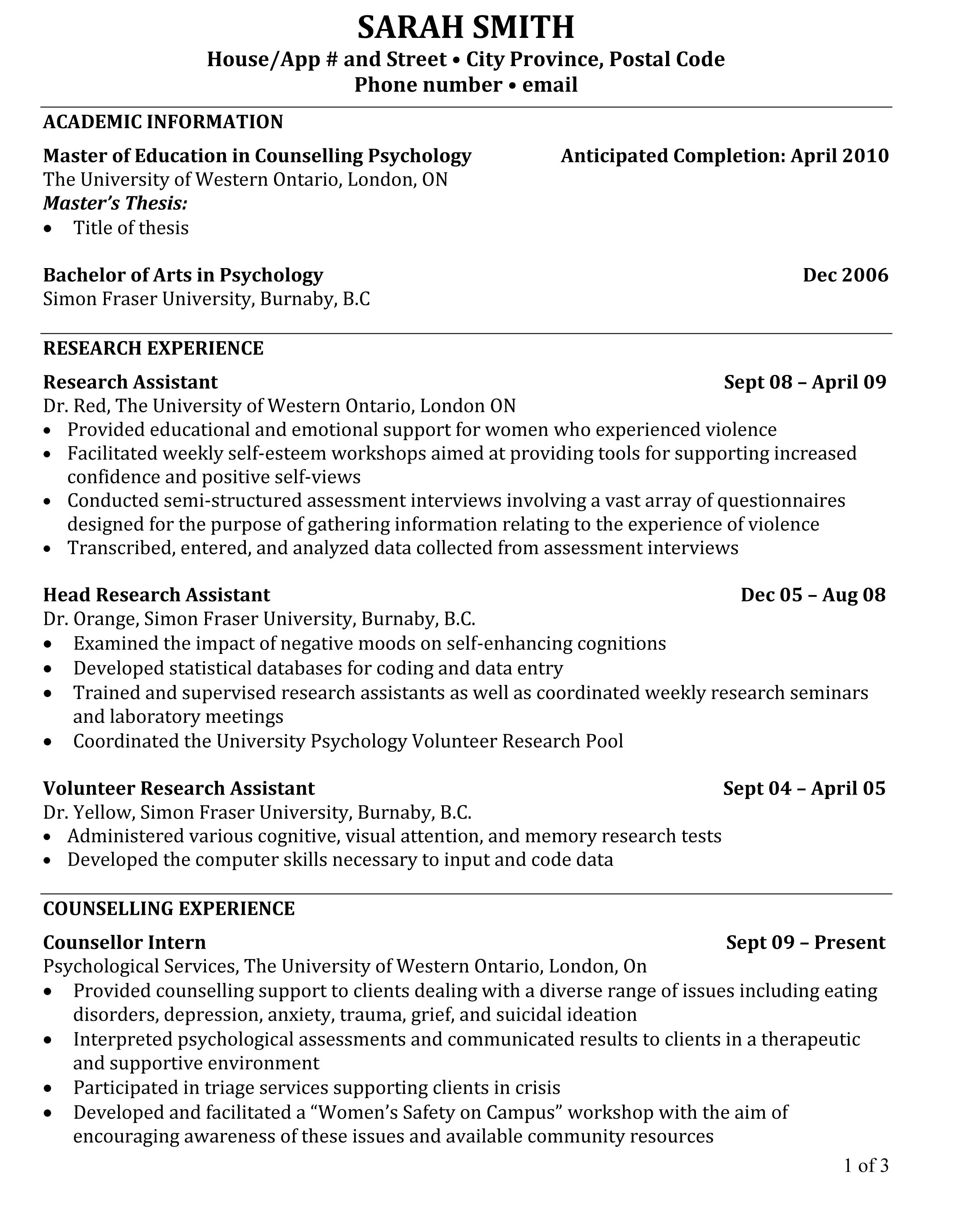 curriculum vitae for grad school