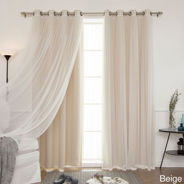 Aurora Home Mix Match Blackout With Tulle Lace Sheer 4 Piece Bronze Grommet Curtain Set