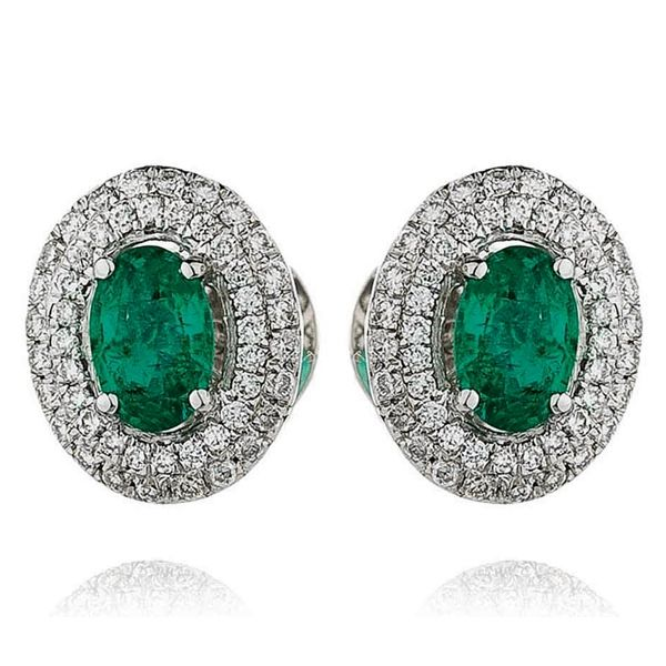 Oval Emerald Diamond Double Micro Set Cer Earrings 1 20ct