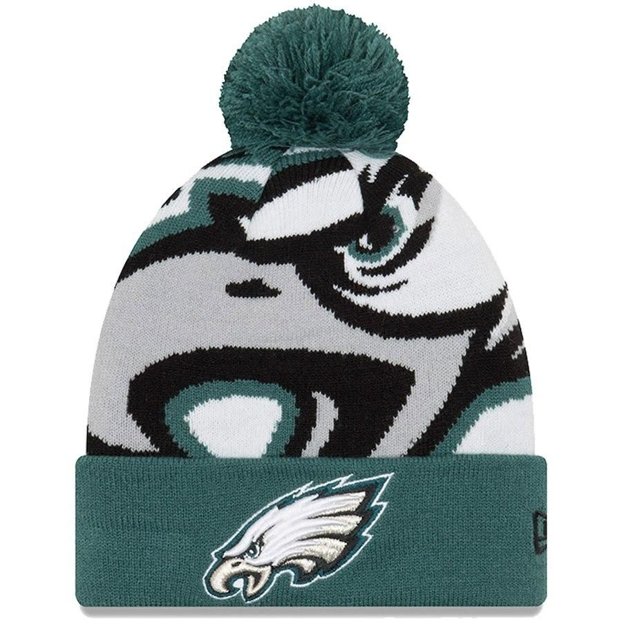 Philadelphia Eagles Logo Cuffed Knit Pom Knit Hat  73d01daf1