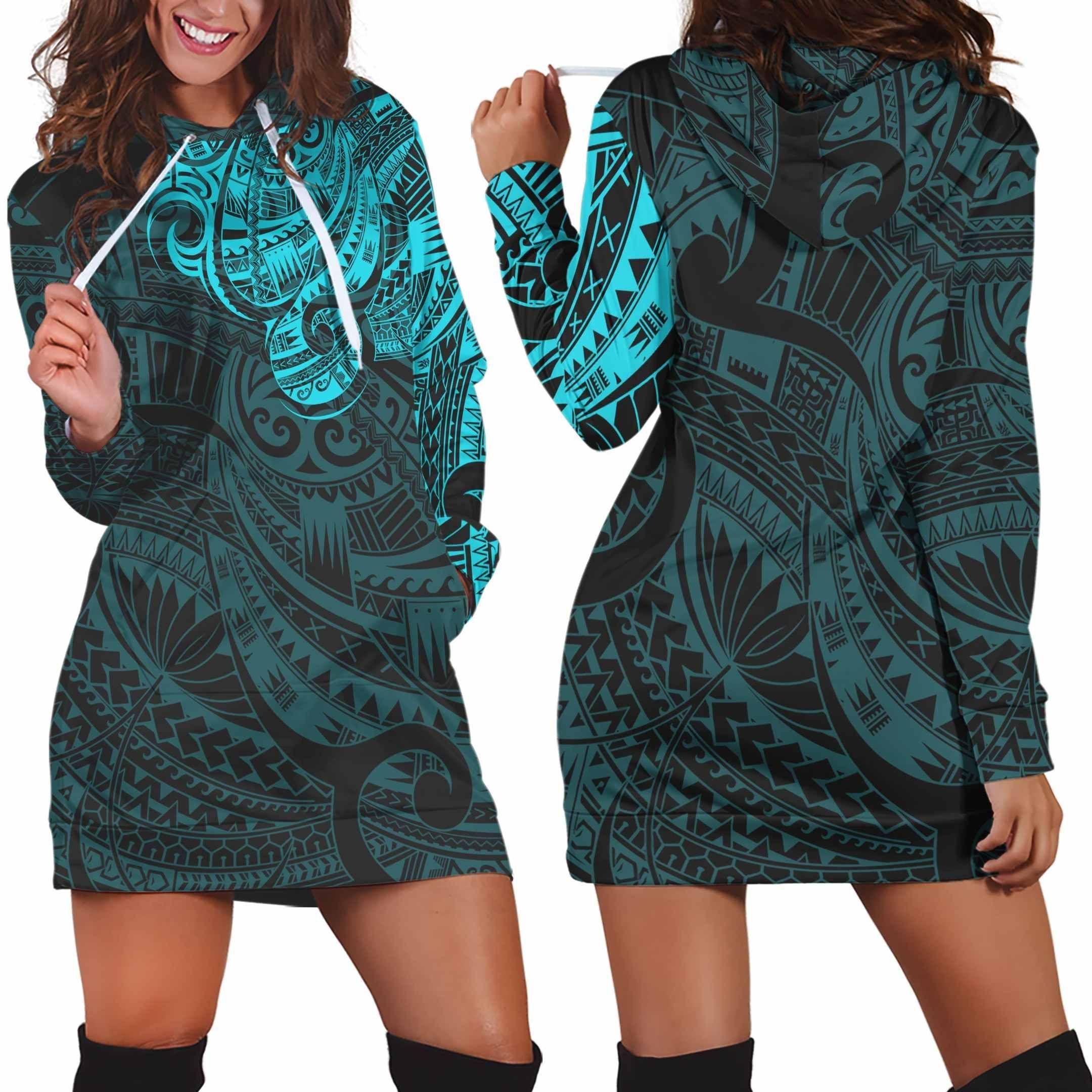 Maori Tattoo Style Blue Hoodie Dress