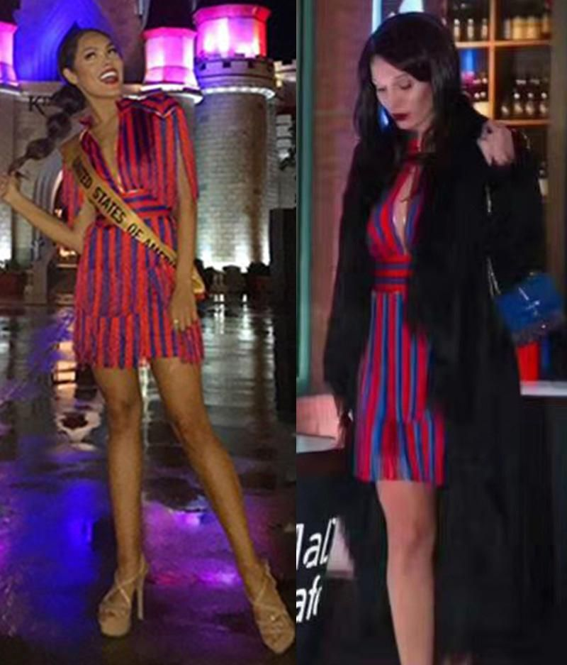 7d4cf254324 Lindsay lohan red and blue tassel dress