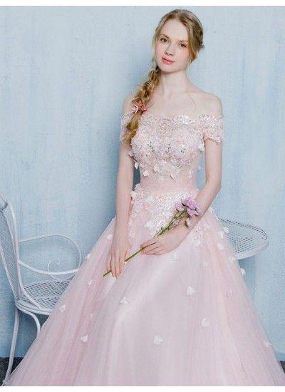Rosa Abendkleider Carmen Ausschnitt Bodenlang Perlenstickerei Lange