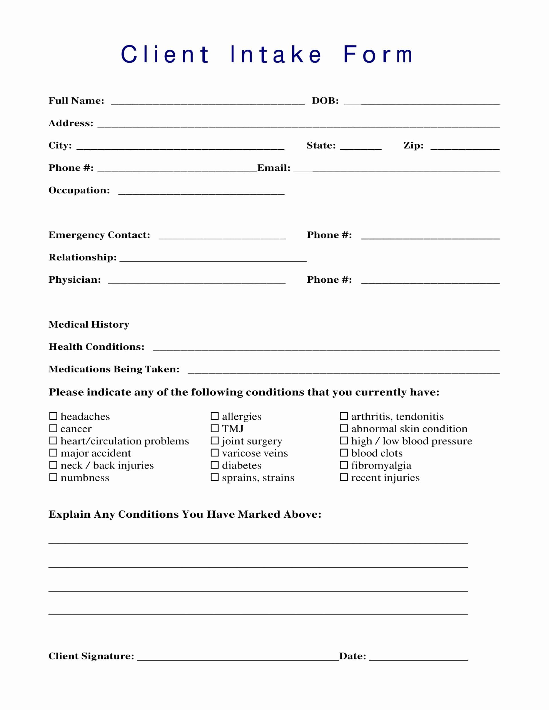 24 Spa Client Intake Form Template In