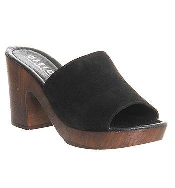 3abe76f582b9 Office Woodstock Wood Mules Black Suede - Sandals