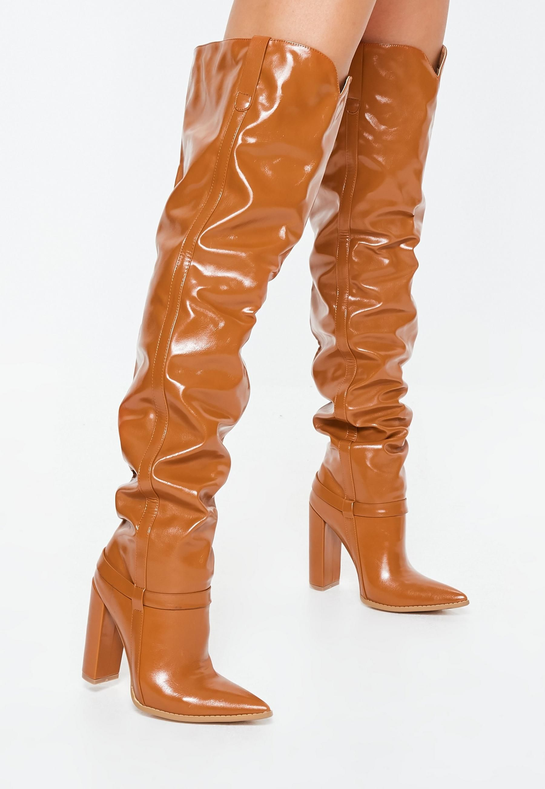 d32c2ea6621 Tan Block Heel Faux Leather Thigh High Boots in 2019 | Booted Up ...