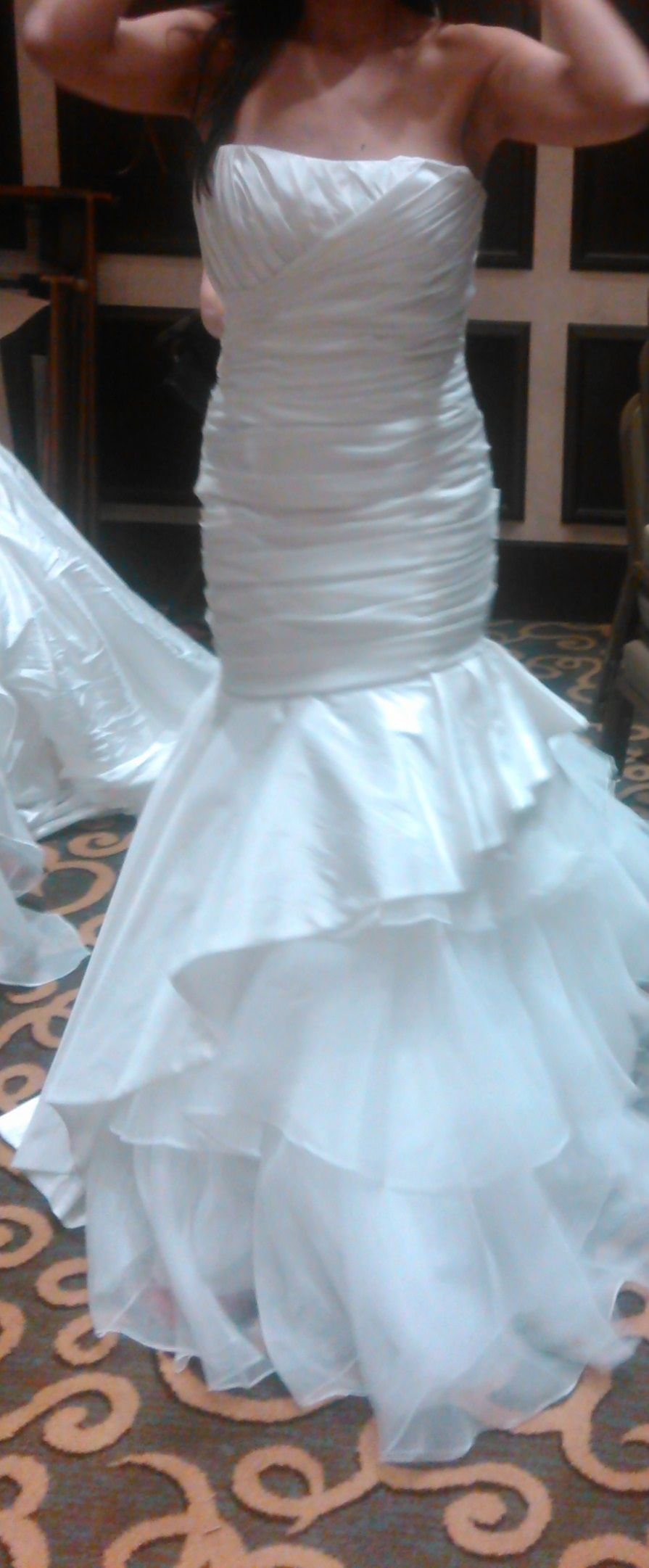 Brand new never worn or altered dress with veil and jeweled belt