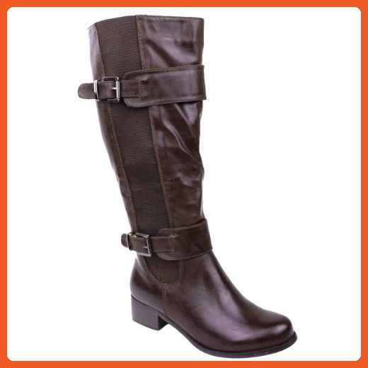 LADIES WOMENS ELASTICATED FAUX LEATHER RIDING WIDE MID CALF HIGH SHOE BOOT SIZE
