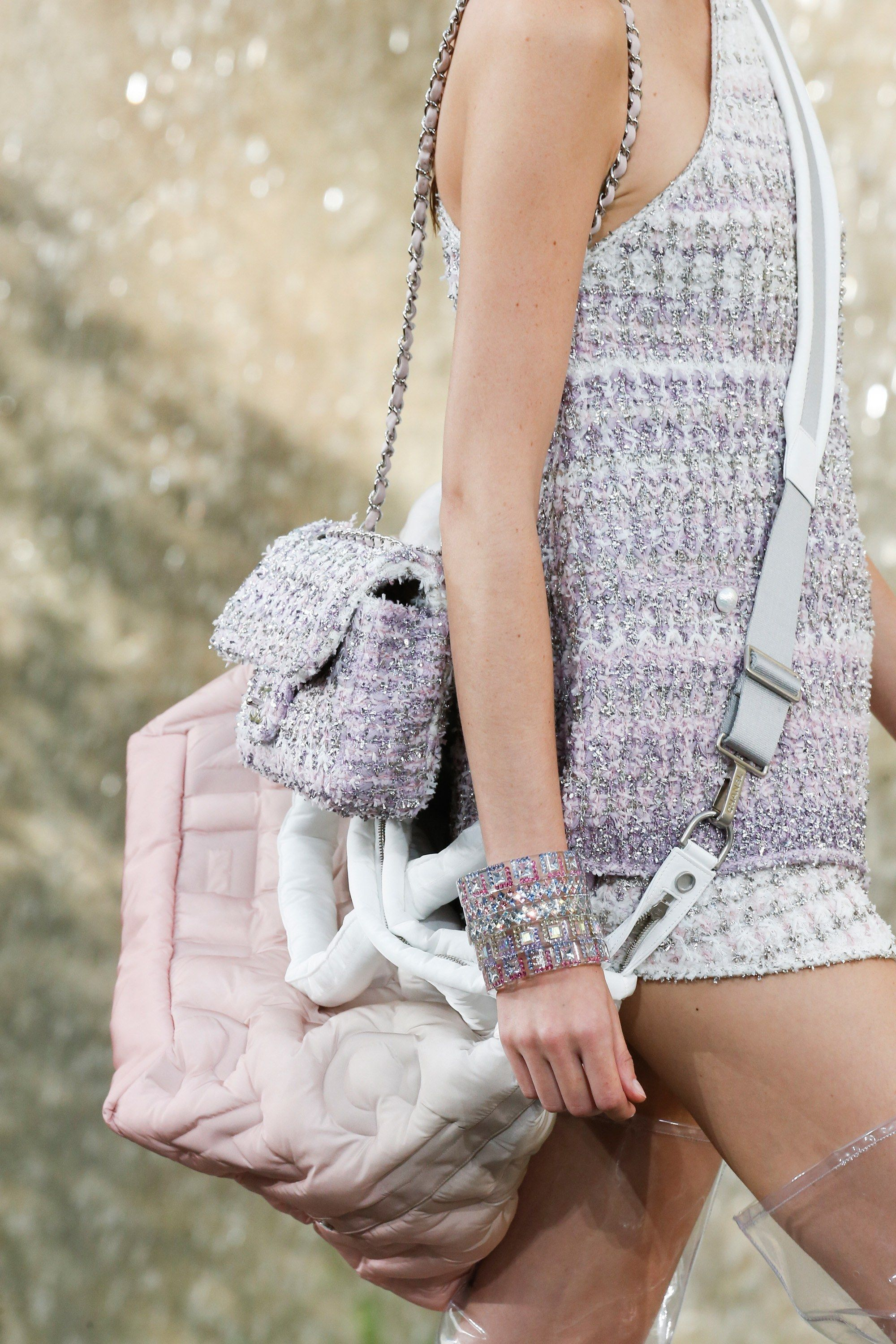 53522880ae7251 Chanel Purple Tweed Classic Flap and Chanel Doudoune Messenger Bag 2 - Spring  2018. See detail photos for Chanel Spring 2018 Ready-to-Wear collection.
