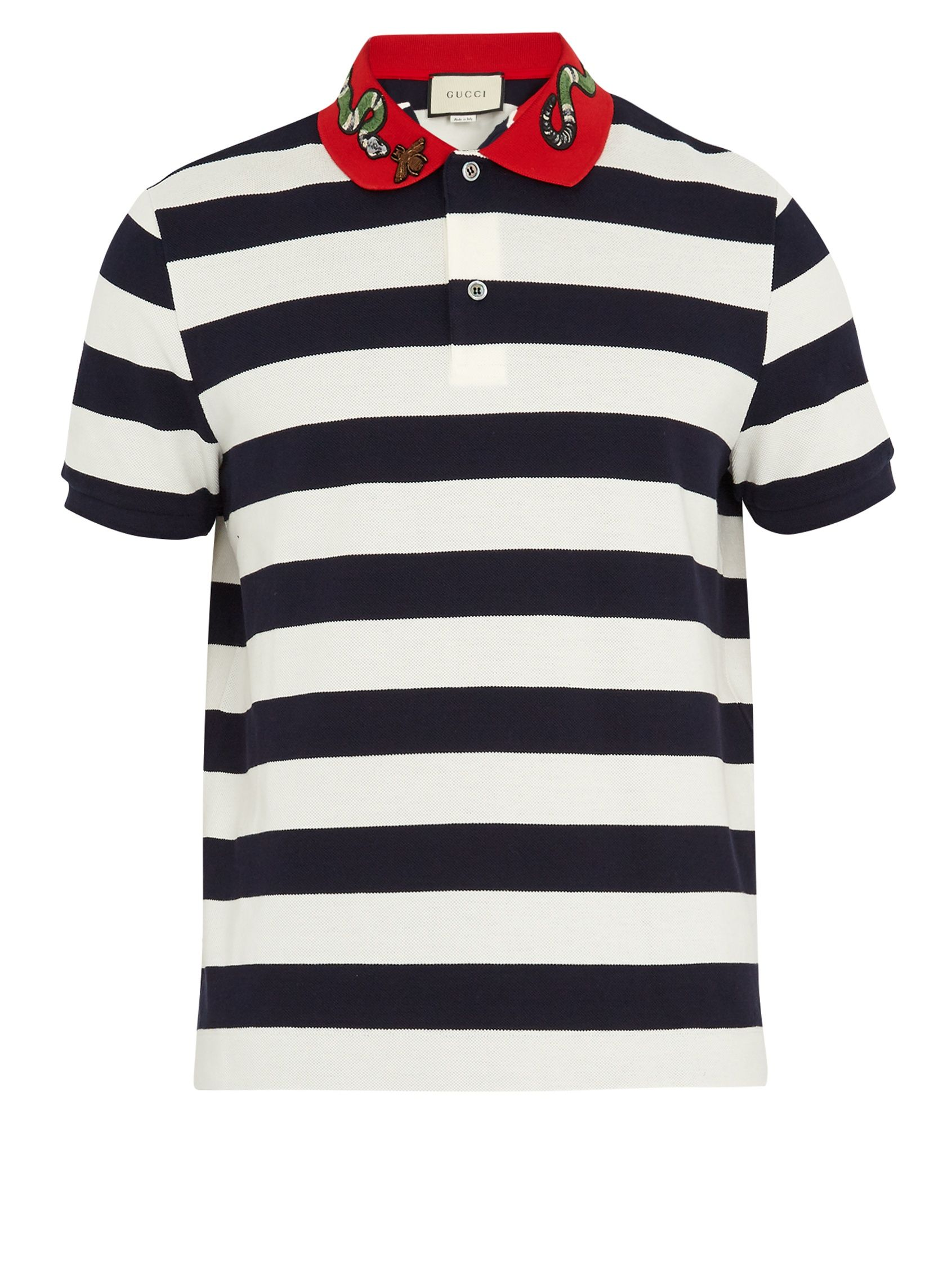 ebe6bfdc567b Click here to buy Gucci Snake-appliqué striped cotton polo shirt at  MATCHESFASHION.COM