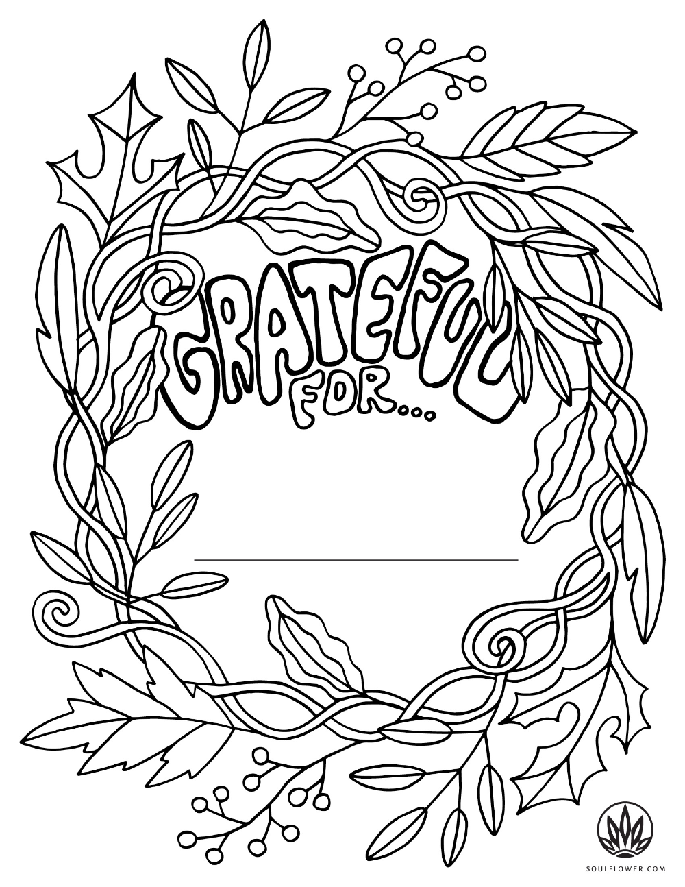 Thanksgiving Color Page Grateful Coloring Page Soul Flower Blog Free Thanksgiving Coloring Pages Thanksgiving Coloring Pages Coloring Pages Inspirational [ 1294 x 1000 Pixel ]