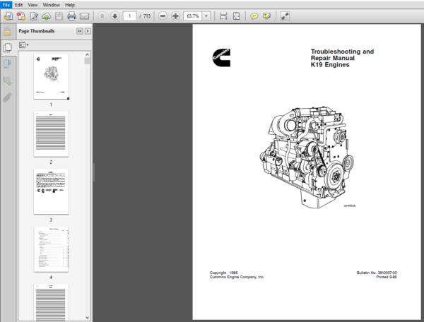 Cummins K19 Series Diesel Engine Troubleshooting And Repair Manual Pdf Download Diesel Engine Repair Manuals Cummins