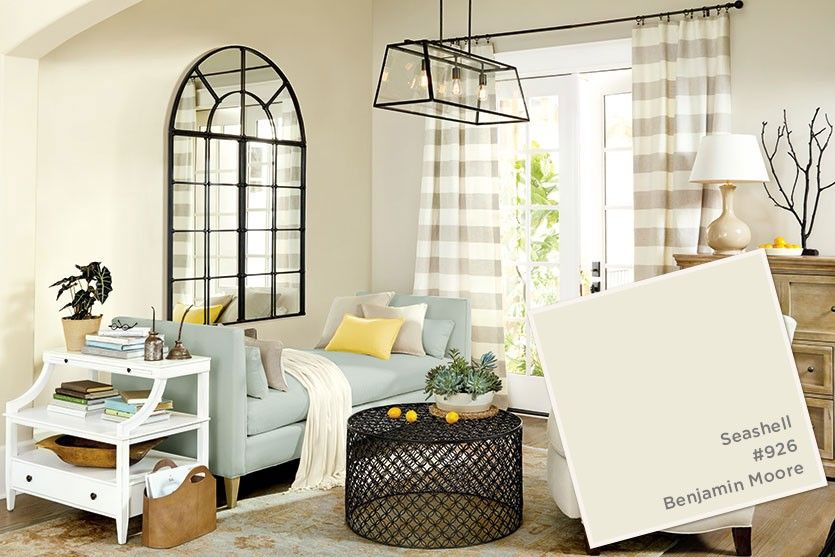 Benjamin Moore's Seashell paint color from Ballard Designs paint color in  living room