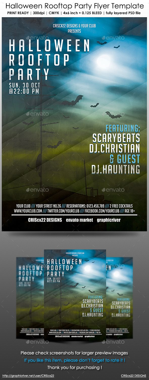 Halloween Rooftop Party Flyer Template  Rooftop Party Party