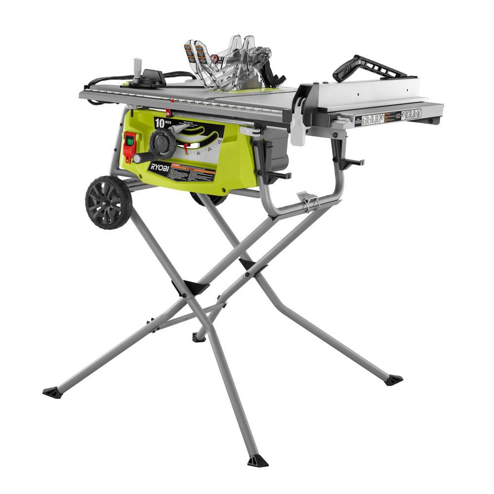 Ryobi 15 Amp 10 In Expanded Capacity Table Saw With Rolling Stand Rts23 The Home Depot In 2020 Table Saw Best Table Saw Ryobi
