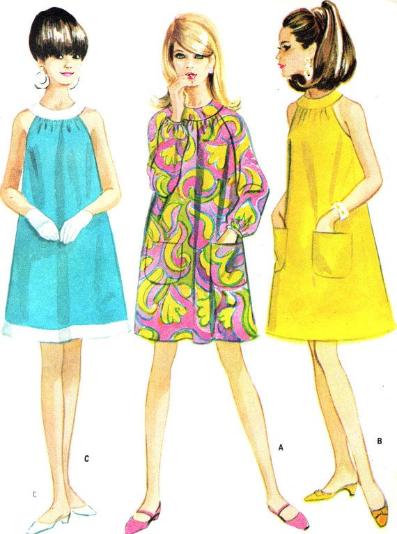 Vintage Sewing Pattern 1960s McCall\'s 8706 Halter Neck A-Line Mod ...