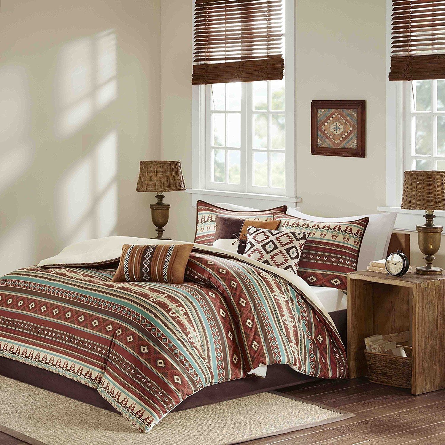 7 Piece Red Brown Blue White Southwest Comforter Queen Set